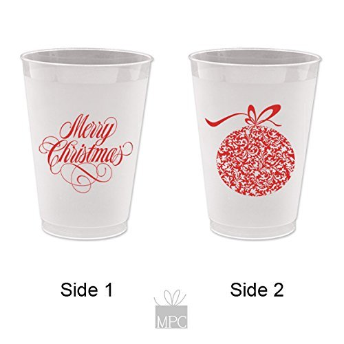 Christmas Frost Flex Plastic Cups - Merry Christmas (10 cups)
