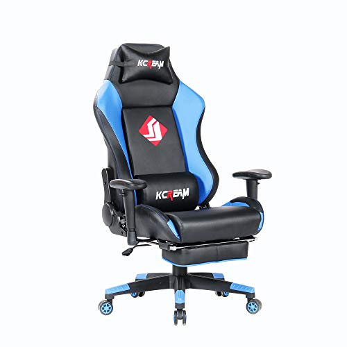 KCREAM Computer Chair High Back Gaming Chairs of Professional Racing Style Comfortable Gamer Chair with Footrest and Headrest and Lumbar Pillows (Blue&Black) KCREAM USA