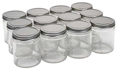 North Mountain Supply 9 Ounce Glass Straight Sided Mason Canning Jars - With 70mm Silver Metal Lids - Case of 12 (Sided Straight Glass)
