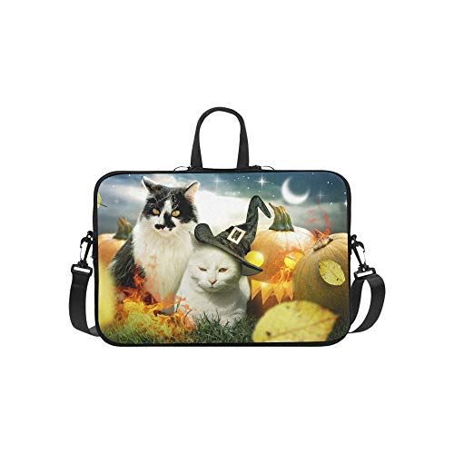Two Cats Halloween Pumpkins Decorated Fire Stock Photo Pattern Briefcase Laptop Bag Messenger Shoulder Work Bag Crossbody Handbag for Business -