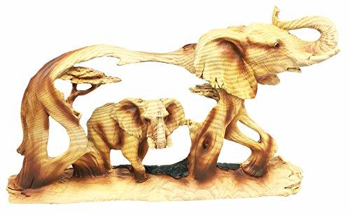 Rustic Faux Wood Resin Noble Majestic African Safari Elephant Wildlife Scene Figurine Sculpture (Sculptures Wildlife Resin)