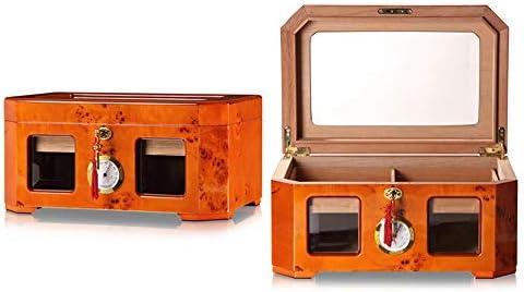 葉巻ケース シガー ヒュミドール 金メッキ加湿器と湿度計付きのクラシックスペイン杉ウッドピアノペイント シガーホルダー収納ボックス (色 : One color, Size : 375x246x180MM)