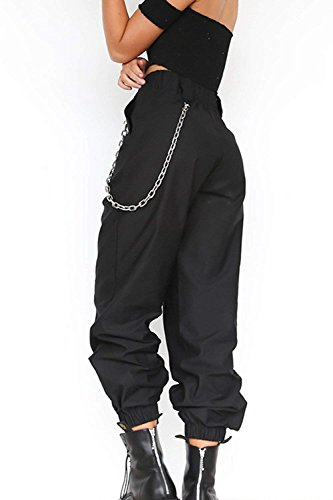 Hop Monocromo Pantaloni Streetwear Tuta Waist Mieuid Eleganti Hip Cute Jogging Pantaloni Schwarz Pantaloni High Fashion Chic Tempo Sciolto Donna Pantaloni Libero Harem Unico Pluderhose q8wtBf6