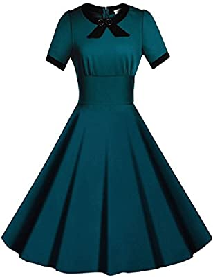 Viwenni Women's Scoop Neck Vintage Casual 1950'S Retro Bridesmaid Dress