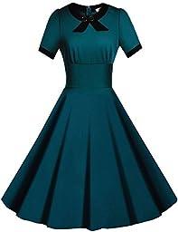 Viwenni Women\'s Scoop Neck Vintage Casual 1950\'S Retro Bridesmaid Dress(Green,XXL)