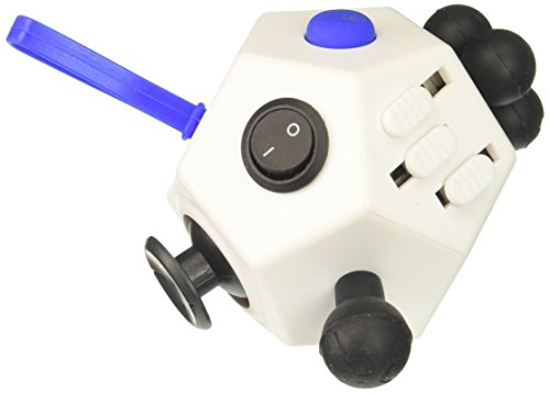Fidget Dodecagon – 12 Sided Fidget Cube Relieves Stress and Anxiety – Toy Increases Focus and Attention for Children and Adults with ADHD, ADD OCD, and Autism (White)
