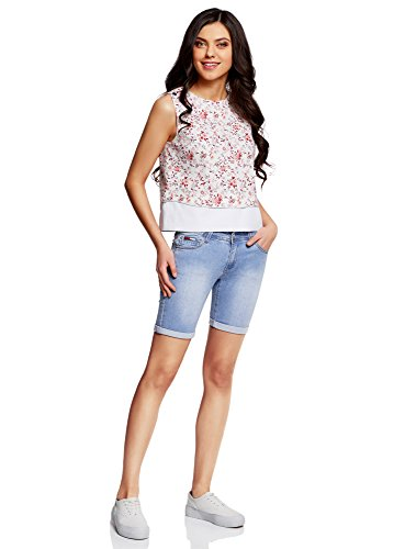oodji Blu 7000w Donna Lunghi in Jeans Shorts Collection TYq7ZwrT