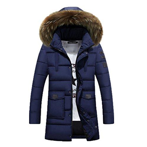 À Parka Homme Manteau Capuche Veste Ohmais D'hiver Fourré Foncé Bleu R0pwzp