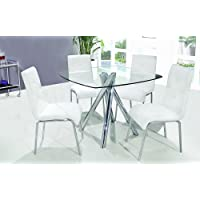 T244 - Contemporary 5 Pcs Dinette Set w/ Faux Leather Chairs (2 Colors) (Table w/ 4 Pcs White Chairs)