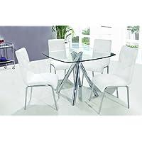 T244 - Contemporary 5 Pcs Dinette Set w/ Faux Leather Chairs (2 Colors) (Table w/ 4 Pcs White Chairs)