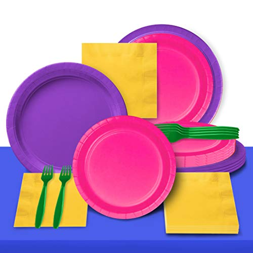 Disposable Paper Plates Dinnerware Set - Pinata Mexican Fiesta Theme, 2 Size Plates, Napkins, Forks and Table Covers - Full Party Supply Pack Serves 20 (Dia Los Muertos De Dinnerware)