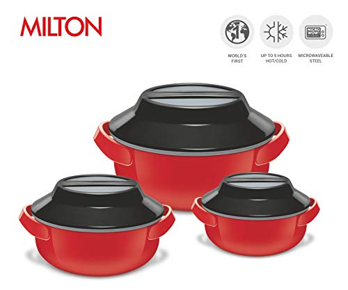 (Set of 3 Insulated Microwaveable Casserole Dishes - Stainless Steel Casserole Dishes that are Microwave Safe - BPA Free Kitchen Set of Cooking Dishes - Dishwasher Safe (Red))