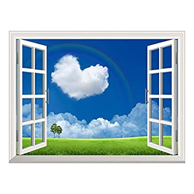 Handsome Technique, Classic Artwork, Removable Wall Sticker Wall Mural Heart Shaped Cloud on The Clear Sky with a Rainbow Creative Window View Wall Decor