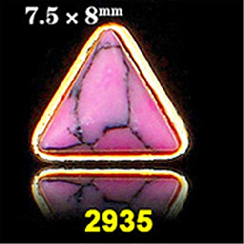 (Korean Trend Nail Style 50Pcs Latest Metal Gold Base Plus Crack Turquoise Stone Design 3D Nail Art Alloy Jewelry 2935)