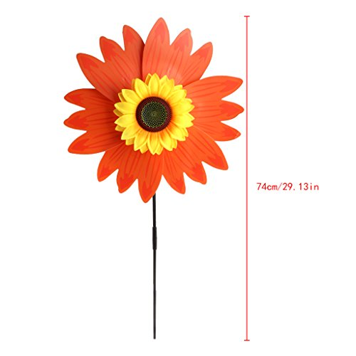 Huhudde Colorful Sunflower Windmill Wind Spinner Children's Toys Home Garden Decoration