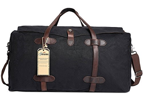 Fresion Oversize Travel Duffle Bag Waxed Canvas Hodall Weekend bags Overnight Handbags for Hiking Outdoor Camping Black