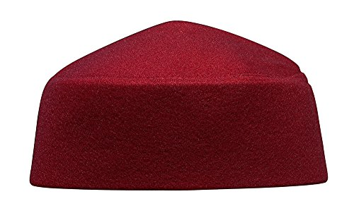 Fez Mens - Solid Maroon Moroccan Fez-style Kufi Hat Cap w/ Pointed Top (XL)