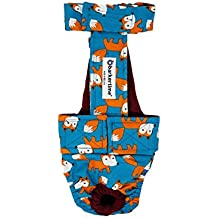 Barkertime Dog Diaper Overall - Made in USA - Orange Fox on Teal Escape-Proof Washable Dog Diaper Overall, S, With Tail Hole for Dog Incontinence, Marking, Housetraining and Females in Heat