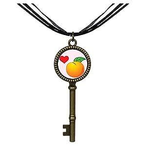 Chicforest Bronze Retro Style red Flower heart green leaf orange Jewelry Vintage Key Pendant