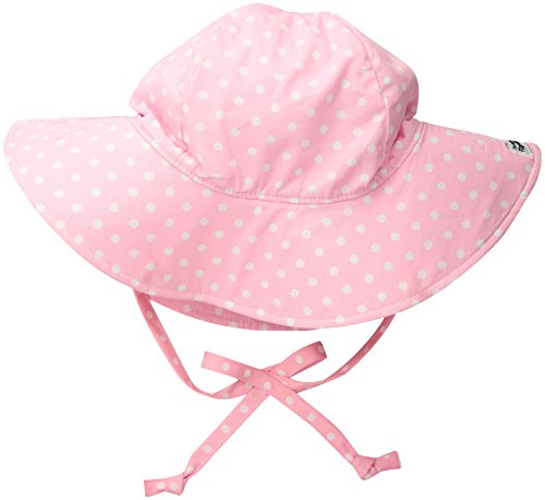Flap Happy Baby Girls UPF 50+ Floppy Hat, Pink dots, Small