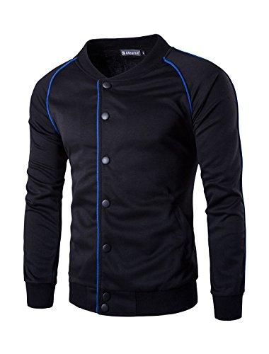 Allegra K Men Single Breasted Raglan Piped Jacket Black M