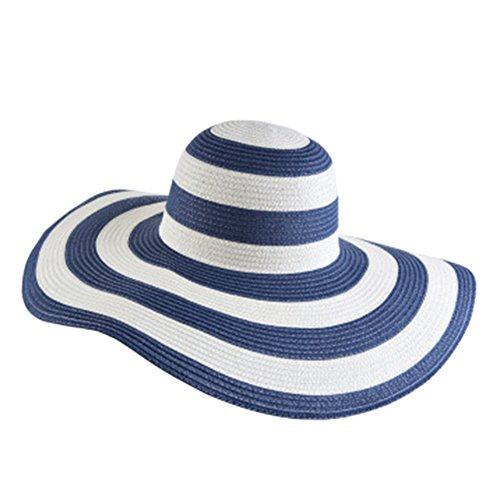Itopfox Women's Beachwear Sun Hat Striped Straw Hat Floppy Big Brim Hat NV