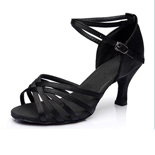 América Zapatos De Baile Zapatos De Baile Sólo Femenina Interior Suave Satén Inferior Cinco piezas negras 5cm