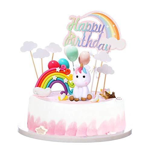 Outstanding Unicorn Rainbow Cake Topper Birthday Wedding Cake Flags With Cloud Personalised Birthday Cards Xaembasilily Jamesorg