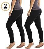 Premium Ultra Soft High Waist Leggings for Women - 2-Pack Black - Small/Medium