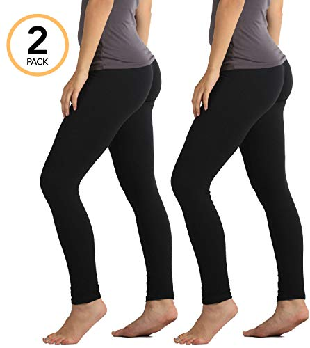 Premium Ultra Soft High Waist Leggings for Women - SL1 Black 2-Pack - Small/Medium (High Cut Maternity Panties)