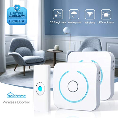 Wireless Doorbell Door Bell Chime - Push Button & 2 Receivers Waterproof Portable Remote Control Home Security Ringer Kit Long Range 32 Melodies for Home White (2 Battery Operated Receivers +1 Button)