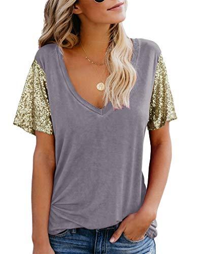 Sequin Top T-shirt - Topstype Women's Sequin Short Sleeve Tee V Neck T Shirts Sequin Loose Blouse Tops Grey