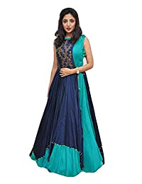 Sitaram Creations Women's Crepe Anarkali Lehenga Choli (20-20-Blue_Blue_Free Size)