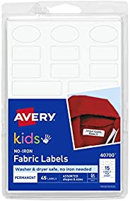 Avery No-Iron Kids Clothing Labels, Washer & Dryer Safe, Writable Fabric Labels, 45 Daycare Labels, 1 Pack