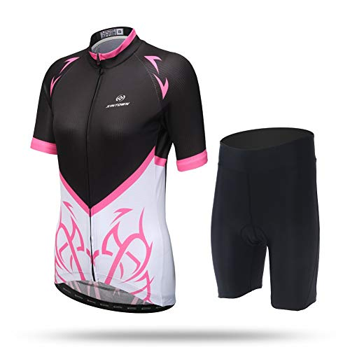 Unkoo Cycling Jersey Women Mountain Bike Jersey Shirts Long Sleeve Road Bicycle Clothing MTB Tops Outdoor Sports Wear Printing Women's Lady Short Cycle Invisible Zipper Slim-Fit ()