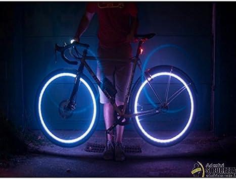 2 Tappi Copri Valvola Ruota LED Blu con Batterie Universale Bici Auto Moto StickersLab