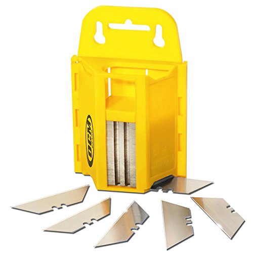 OCM -100 Pack Utility Knife Blades with Impact Resistant Wall Mount Dispenser Set - High Carbon Steel Utility Blades - Safe Storage