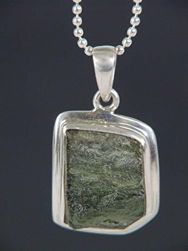 Moldavite Meteorite Tektite Raw Natural in Sterling Silver Bezel Czech Republic Pendant Necklace Bead 24
