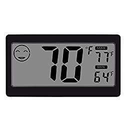 Jlenoveg Digital Indoor Thermometer Hygrometer Temperature And Humidity Display With 3 3 Inch Lcd Table Standing Magnet Attaching For Household Office Gym Kitchen 1