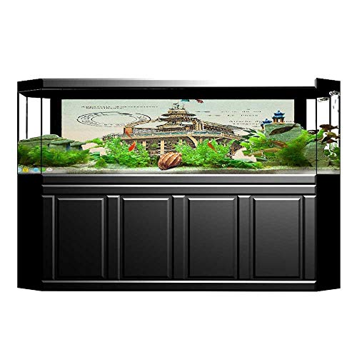 Jiahong Pan Aquarium Decorative Postcard with in France Rare Aquarium Background Sticker Wallpaper L29.5 x H11.8