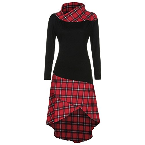 iLUGU Glorious Knee-Length Dress for Women Long Sleeve Turtleneck Irregular Hem Plaid Pattern Patchwork Gown Red