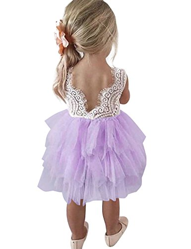 NNJXD Toddler Girls Lace Back Tutu Tulle Flower Party Dress Size (100) 2-3 Years -