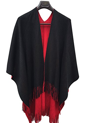 ilishop Women's Winter Knitted Cashmere Poncho Capes Shawl Cardigans Sweater Coat Black-red Free