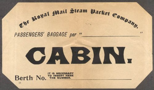 Royal Mail Steam Packet Company Passengers Baggage CABIN label ca 1930s