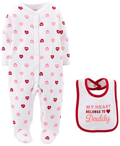 Carter's Baby Girls' 2 Piece Valentine's Footie/Bib Set (Baby) - Daddys Heart - 9 (Vermont Baby Bib)