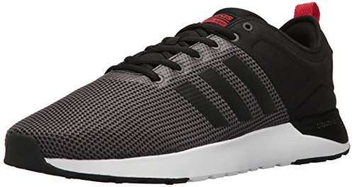 adidas Men's Cloudfoam Super Racer Running Shoe, Solid Grey/Black/Scarlet, 8 D - Medium