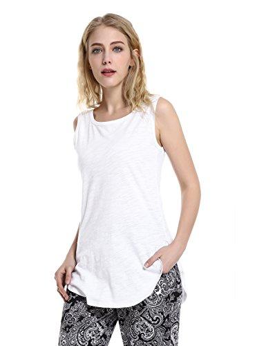 Extra Long Work Shirt - ZAN.STYLE Women's Extra Long Loose Cotton Tank Top Sleeveless Workout Shirt White Medium