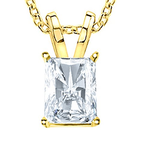 (1 Carat 14K Yellow Gold Radiant Diamond Solitaire Pendant Necklace 4 Prong H-I Color SI2-I1 Clarity)