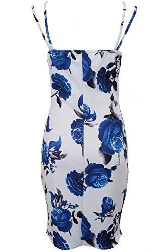 Imprimé Dames Robe Avant Lanières En Enveloppe Floral Pour Fantasia Bleu Moulante Ourlet Boutique Courte Courbe wqIpTT