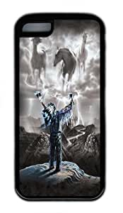 iPhone 5C Case, iPhone 5C Cases -Summoning the Storm Native American Custom Soft Case Cover Protector for iPhone 5C Black